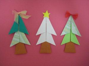 クリスマスツリーの折り紙。平面の折り方。簡単に幼児でもかわいい11月、12月の飾り付けが作れます。