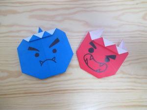 鬼の折り紙。3歳児でも簡単な折り方。かわいいおにの顔の作り方。幼稚園や保育園の幼児にもオススメ!