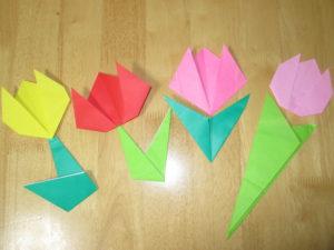 折り紙でチューリップの折り方。子供でも簡単に作れるよ♪