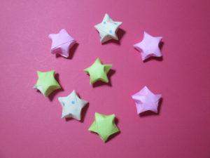 折り紙で星を立体に折る方法。かわいいラッキースターの作り方