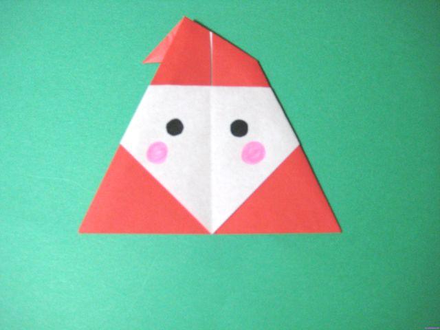 折り紙でサンタの簡単、かわいい折り方。3歳の幼児でもサンタクロースが作れます!