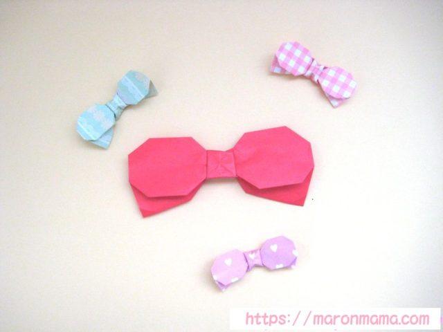 折り紙でリボンの簡単な折り方。幼児でもかわいい平面のりぼんが作れます♪