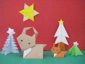 トナカイの折り紙。簡単に保育園児でも折れる折り方。かわいい親子が完成!