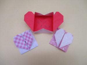 折り紙でハートの箱の折り方。メッセージカードにもオススメ♪