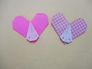 折り紙でハートの折り方。可愛いハートのうさぎを作ったよ♪