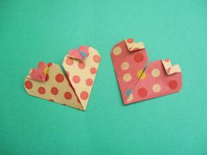 折り紙でハートの折り方。簡単にかわいい親子ハートを作ったよ♪