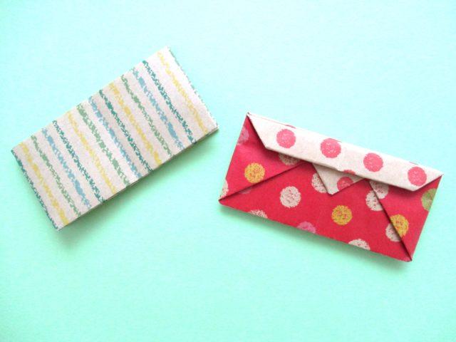 折り紙で財布の折り方2種。簡単にふた付きにもなります♪