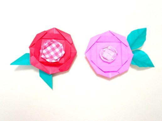 折り紙でバラの折り方。簡単に平面のかわいい花が完成♪